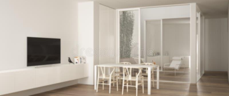 Onduidelijk beeld binnenlands ontwerp als achtergrond, minimalistische woonkamer met eettafel, grote vensters op balkonterras met stock illustratie
