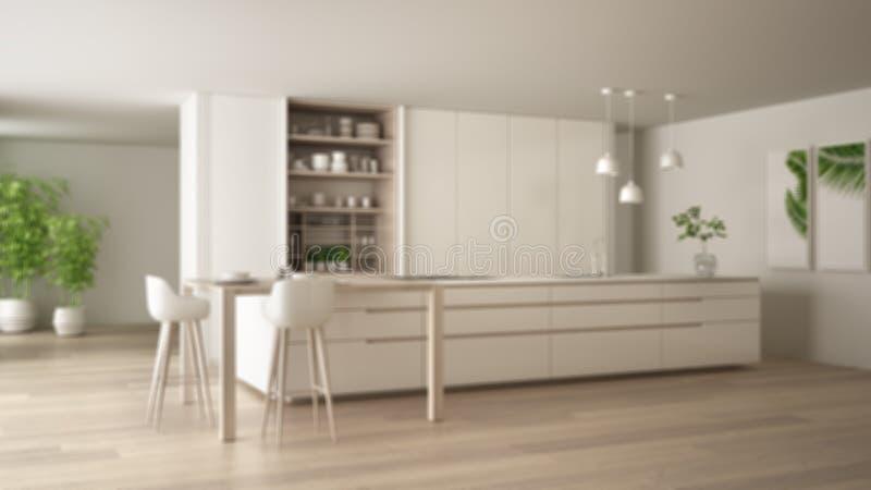Onduidelijk beeld binnenlands ontwerp als achtergrond, witte minimalistische keuken in eco vriendschappelijke flat, eiland, lijst vector illustratie