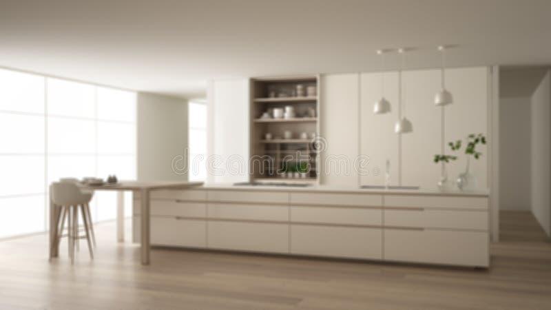 Onduidelijk beeld binnenlands ontwerp als achtergrond, witte minimalistische keuken in eco vriendschappelijke flat, eiland, lijst royalty-vrije illustratie