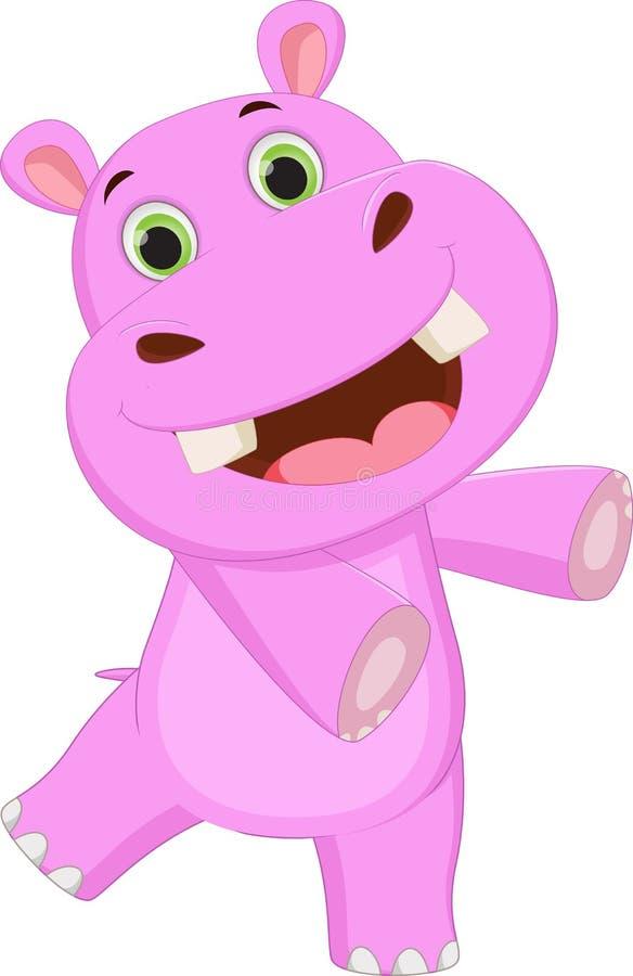 Ondulação bonito dos desenhos animados do hipopótamo ilustração royalty free