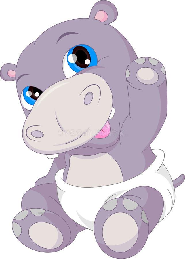 Ondulação bonito dos desenhos animados do hipopótamo do bebê ilustração royalty free