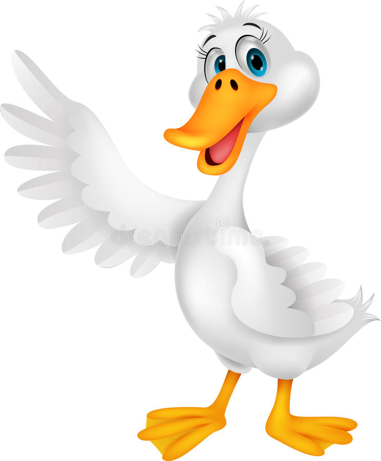 Ondulação bonito dos desenhos animados do pato ilustração royalty free