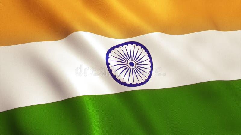 Ondulação da bandeira da Índia imagens de stock royalty free