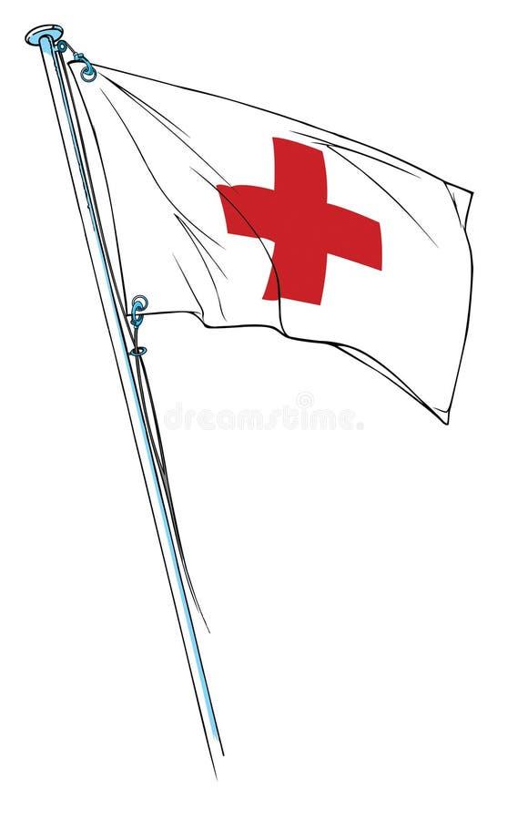 Ondulação da bandeira da cruz vermelha ilustração stock