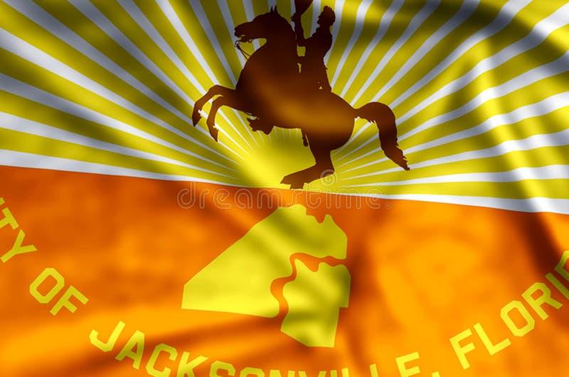 Ondulação de Jacksonville florida e ilustração coloridas da bandeira do close up ilustração do vetor