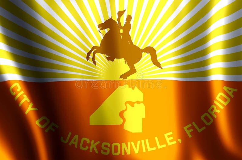 Ondulação de Jacksonville florida e ilustração coloridas da bandeira do close up ilustração royalty free