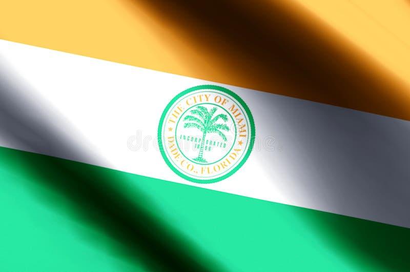 Ondulação de Miami florida e ilustração coloridas da bandeira do close up ilustração stock