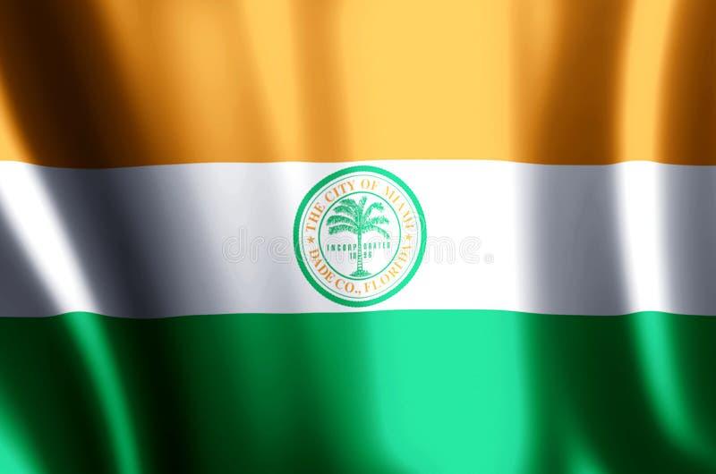 Ondulação de Miami florida e ilustração coloridas da bandeira do close up ilustração do vetor