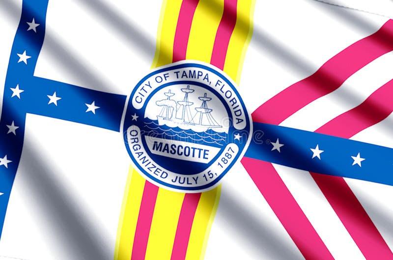 Ondulação de Tampa florida e ilustração coloridas da bandeira do close up ilustração stock