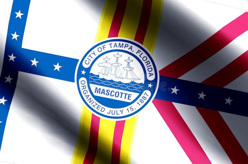 Ondulação de Tampa florida e ilustração coloridas da bandeira do close up ilustração do vetor