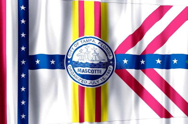 Ondulação de Tampa florida e ilustração coloridas da bandeira do close up ilustração royalty free