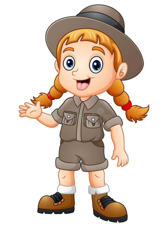 Ondulação do explorador da menina ilustração do vetor