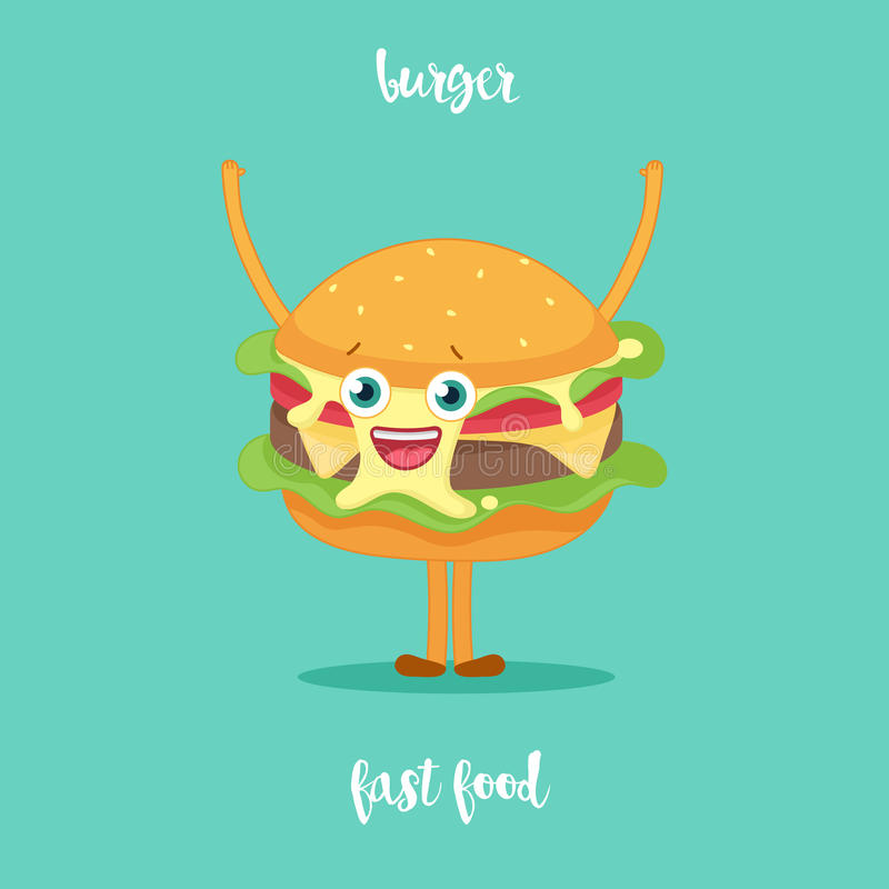 Ondulação feliz do personagem de banda desenhada do Hamburger ilustração stock