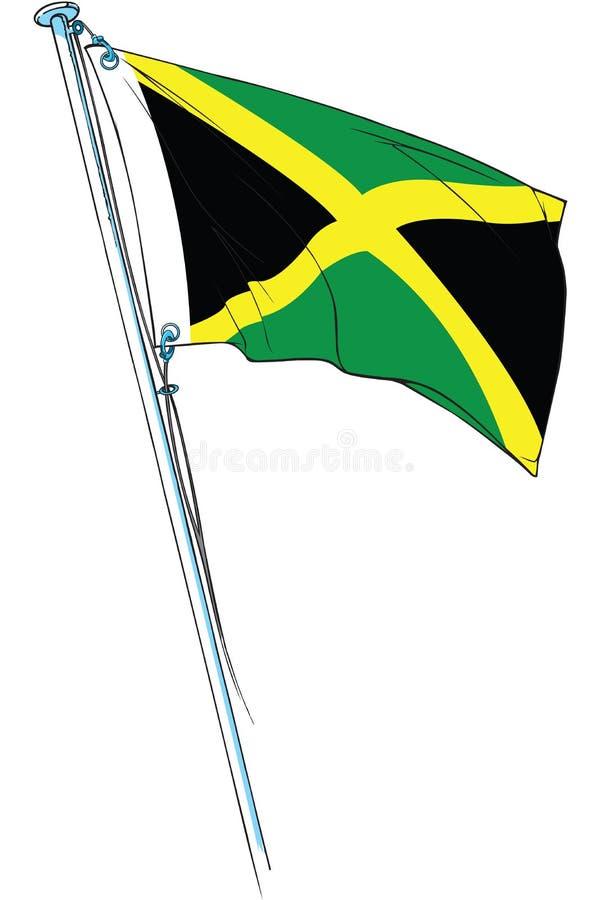 Ondulação jamaicana da bandeira ilustração stock