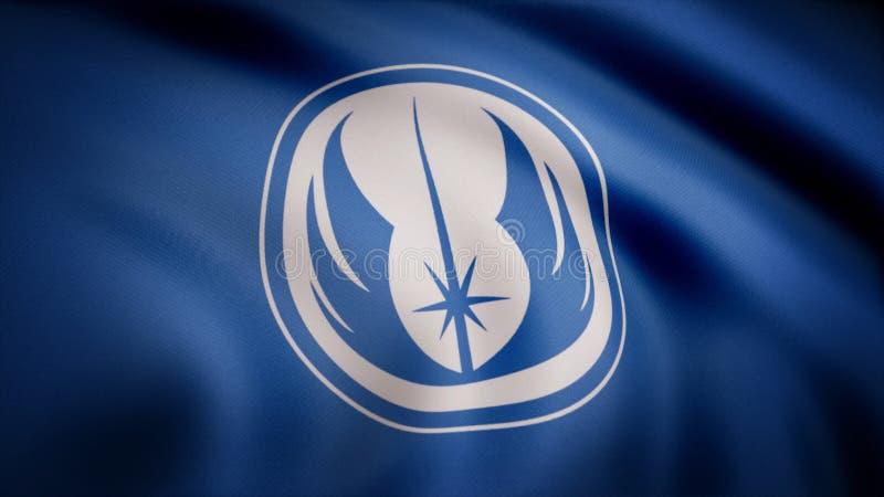Ondulação na bandeira do vento com o símbolo da ordem de Jedi A animação da bandeira do símbolo da ordem de Jedi Os Star Wars ilustração do vetor