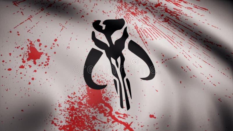 Ondulação na bandeira do vento com o símbolo de Mandalorians A animação da bandeira do símbolo de Mandalorians A estrela ilustração royalty free