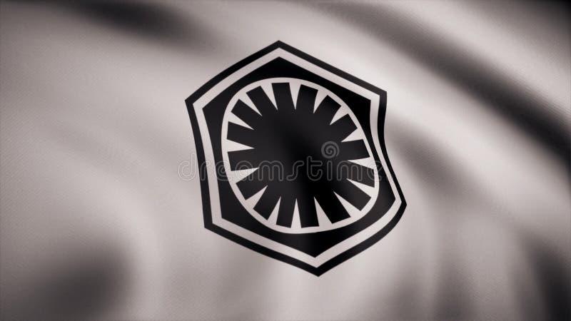 Ondulação na bandeira do vento com o símbolo de Star Wars A animação da bandeira do símbolo de Star Wars Os Star Wars ilustração stock