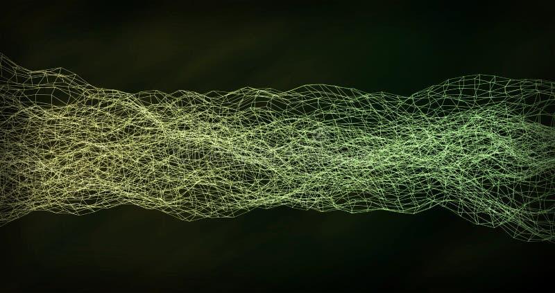 Ondulación amarilla verde digital de la onda del extracto del fondo fotos de archivo libres de regalías