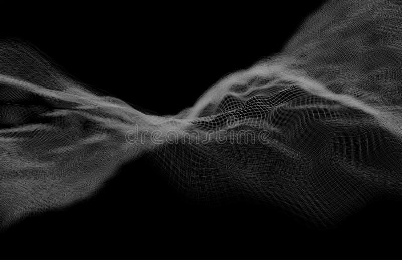 Ondulación blanca digital de la onda del extracto del fondo foto de archivo libre de regalías