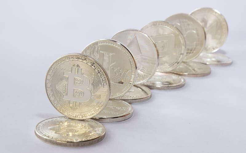 Ondulación Crypto del ethereum del bitcoin del litecoin de la moneda foto de archivo