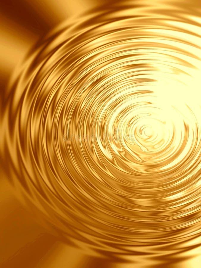 Ondulaciones del oro en agua stock de ilustración