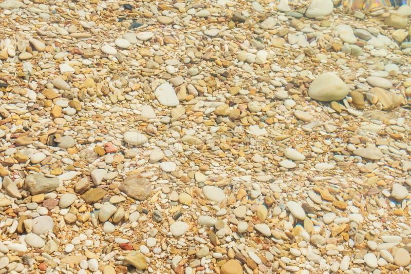 Ondulaciones que crean sombras en agua Playa de las piedras Ciérrese encima de la piedra texturizada sumergida en agua Piedras de foto de archivo