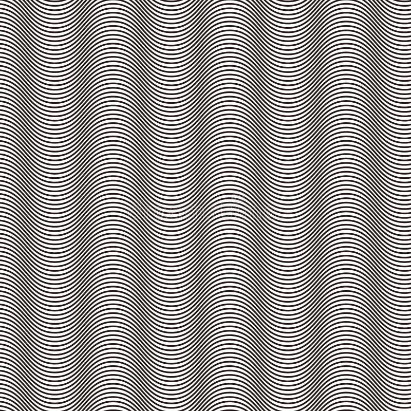 Onduladas, ondeado, as linhas de fluxo abstraem o teste padrão ilustração do vetor