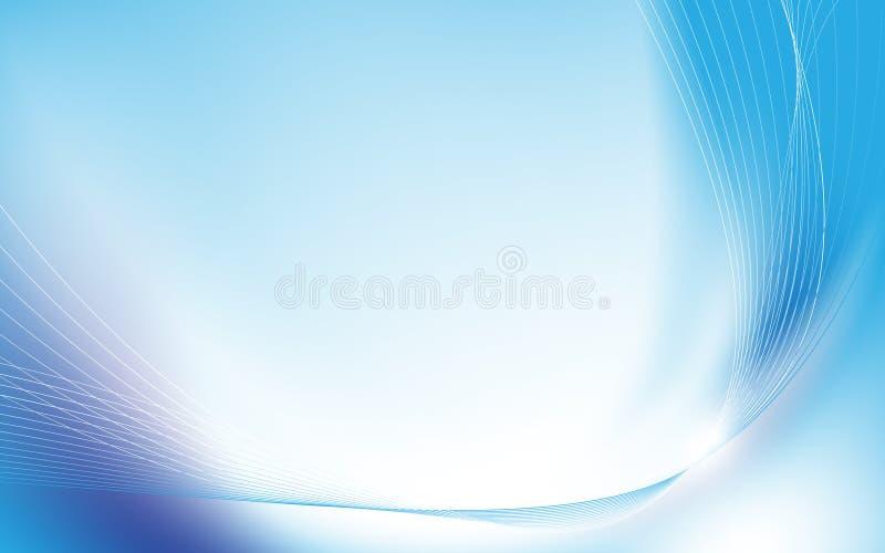 Ondulado azul abstracto con la luz borrosa curvó las líneas fondo ilustración del vector