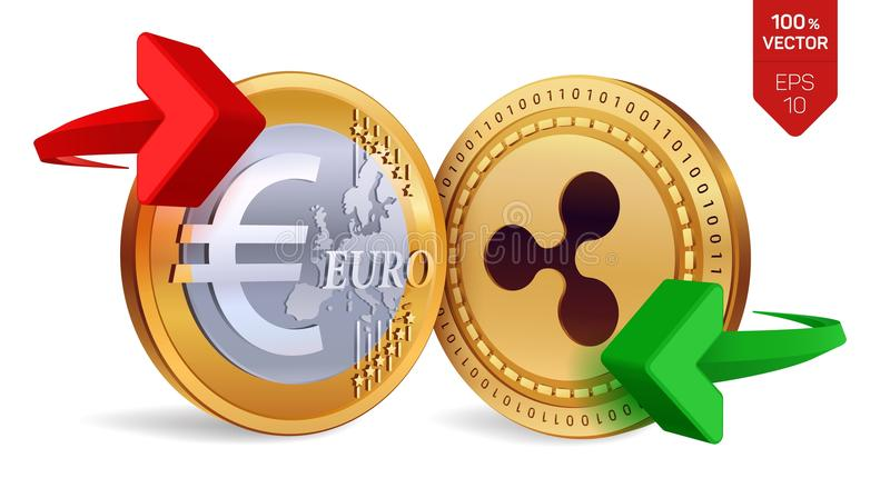 Ondulation à l'euro change  ondulation Euro pièce de monnaie Cryptocurrency Pièces de monnaie d'or avec le symbole d'ondulation e illustration de vecteur