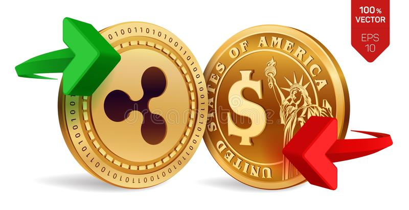 Ondulation au change du dollar ondulation Pièce de monnaie du dollar Cryptocurrency Pièces de monnaie d'or avec le symbole d'ondu illustration libre de droits