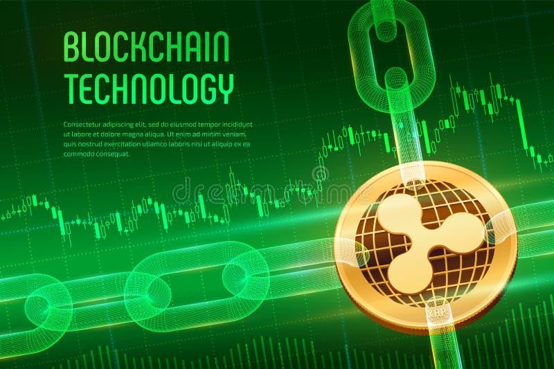 ondulation Crypto devise Chaîne de bloc bitcoin 3D d'or physique isométrique avec la chaîne de wireframe sur financier bleu illustration libre de droits