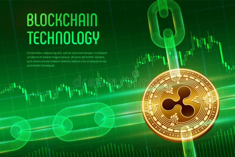 ondulation Crypto devise Cha?ne de bloc bitcoin 3D d'or physique isom?trique avec la cha?ne de wireframe sur financier bleu illustration de vecteur