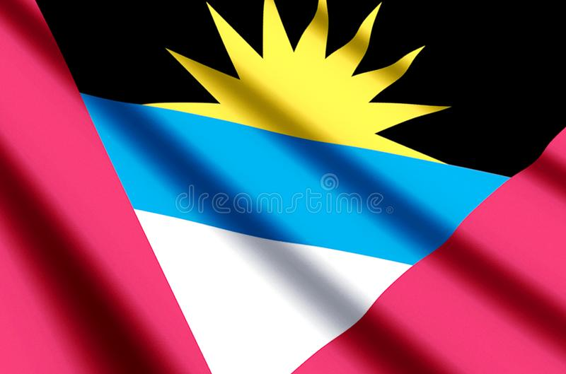 Ondulation d'Antigua et de Barbuda et illustration colorées de drapeau de plan rapproché illustration de vecteur