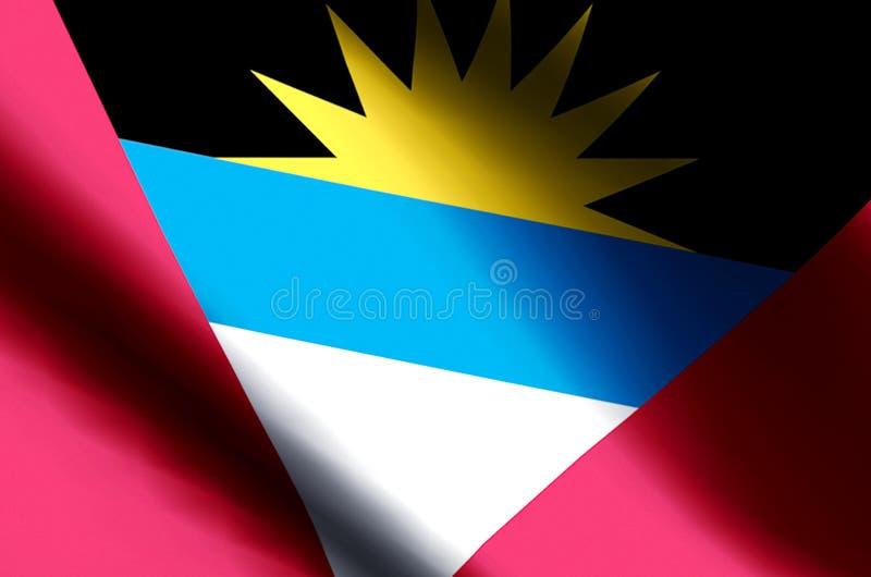 Ondulation d'Antigua et de Barbuda et illustration colorées de drapeau de plan rapproché illustration stock