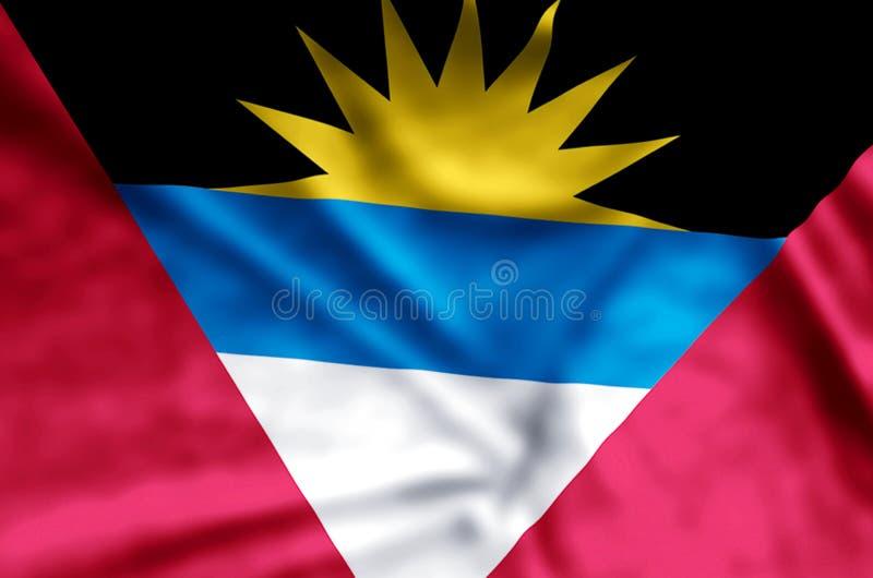 Ondulation d'Antigua et de Barbuda et illustration colorées de drapeau de plan rapproché illustration libre de droits