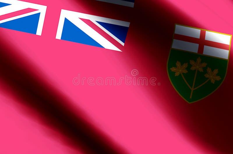 Ondulation d'Ontario et illustration colorées de drapeau de plan rapproché illustration stock