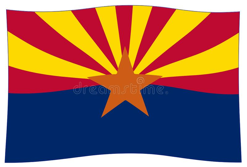 Ondulation de drapeau d'état de l'Arizona illustration libre de droits