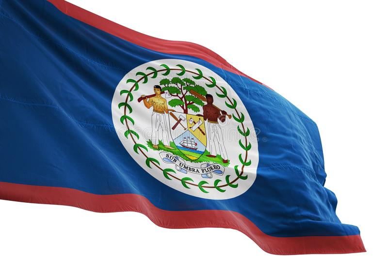 Ondulation de drapeau national de Belize d'isolement sur l'illustration blanche du fond 3d illustration stock