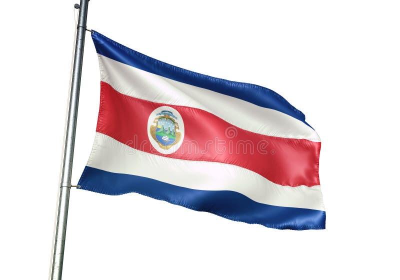 Ondulation de drapeau national de Costa Rica d'isolement sur l'illustration 3d réaliste de fond blanc illustration libre de droits