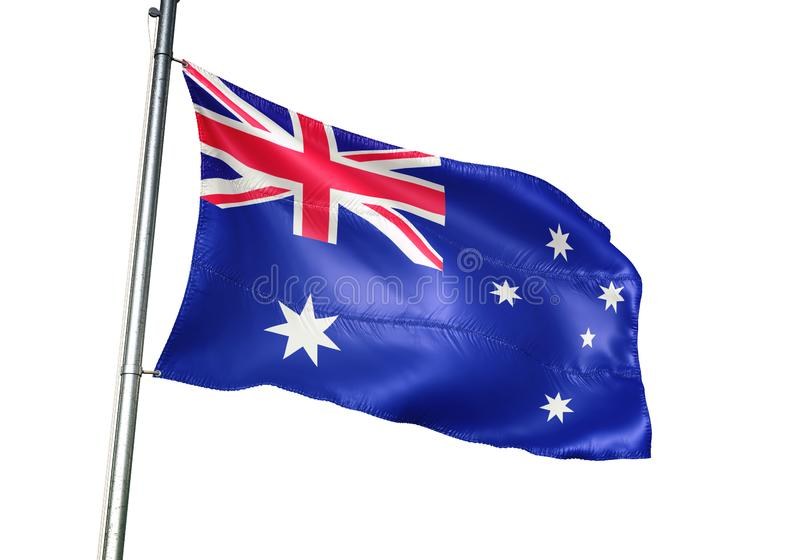 Ondulation de drapeau national d'Australie d'isolement sur l'illustration 3d réaliste de fond blanc illustration stock