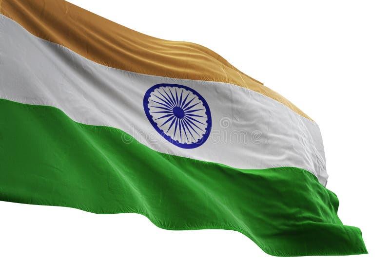 Ondulation de drapeau national d'Inde d'isolement sur l'illustration blanche du fond 3d illustration stock
