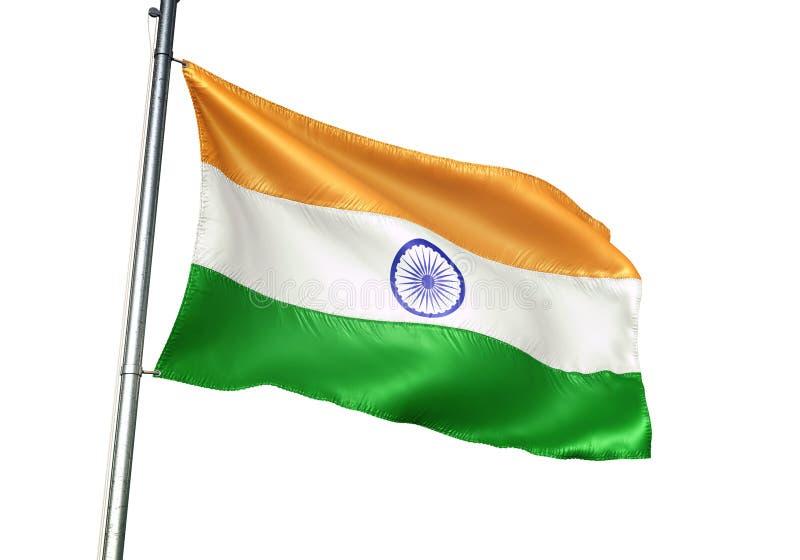 Ondulation de drapeau national d'Inde d'isolement sur l'illustration 3d réaliste de fond blanc illustration stock