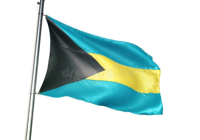 Ondulation de drapeau national des Bahamas d'isolement sur l'illustration 3d réaliste de fond blanc illustration de vecteur