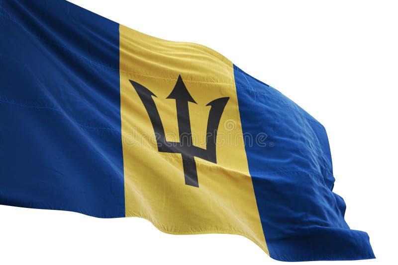 Ondulation de drapeau national des Barbade d'isolement sur l'illustration blanche du fond 3d illustration de vecteur