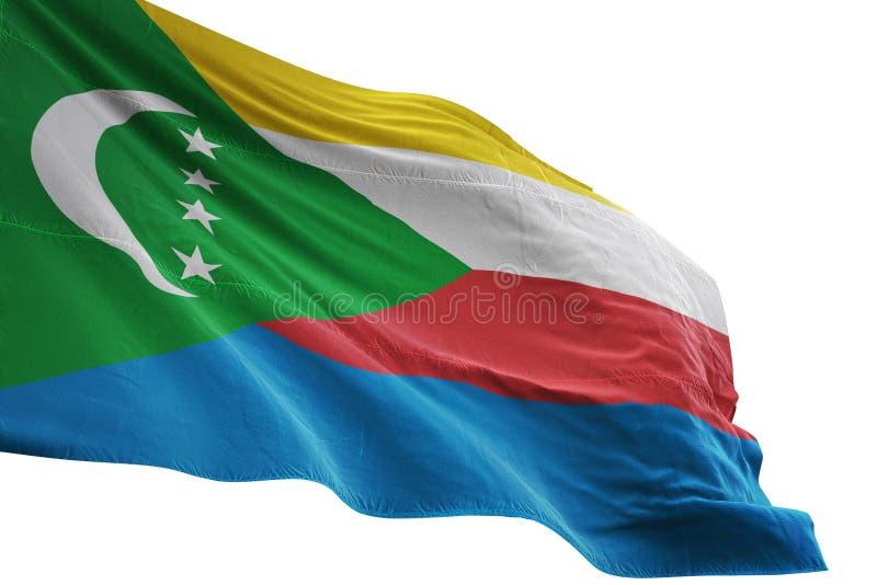 Ondulation de drapeau national des Comores d'isolement sur l'illustration blanche du fond 3d illustration de vecteur