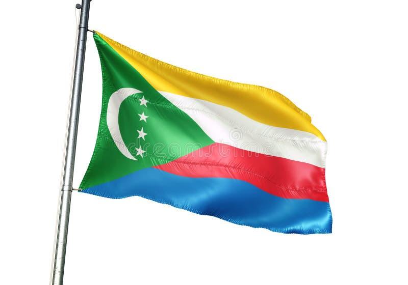Ondulation de drapeau national des Comores d'isolement sur l'illustration 3d réaliste de fond blanc illustration de vecteur