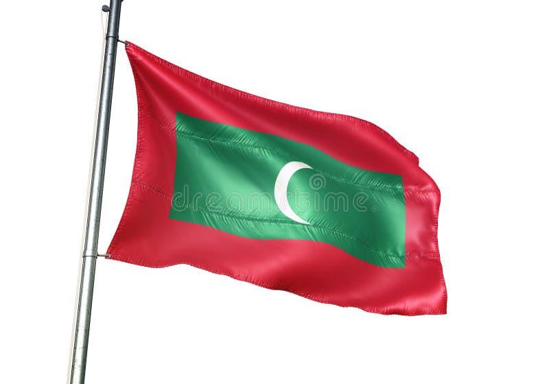 Ondulation de drapeau national des Maldives d'isolement sur l'illustration 3d réaliste de fond blanc illustration libre de droits