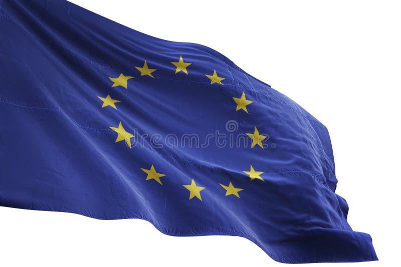 Ondulation de drapeau national des syndicats de l'Europe d'isolement sur l'illustration blanche du fond 3d illustration libre de droits