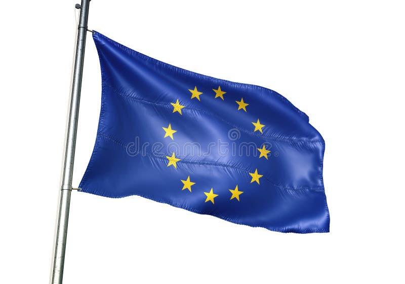 Ondulation de drapeau national des syndicats de l'Europe d'isolement sur l'illustration 3d réaliste de fond blanc illustration de vecteur