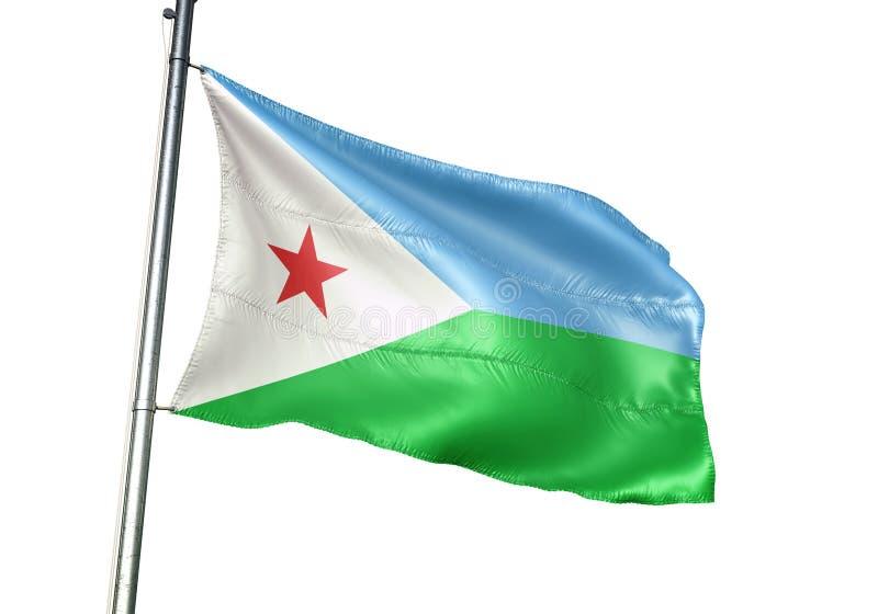 Ondulation de drapeau national de Djibouti d'isolement sur l'illustration 3d réaliste de fond blanc illustration libre de droits